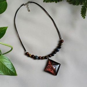 Brown gemstones bar necklace w/ geometric pendant